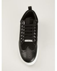 DSquared² - Black Perforated Detail Sneakers for Men - Lyst