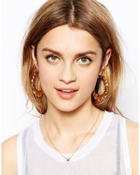 ASOS - Metallic Creole Ridge Hoop Earrings - Lyst