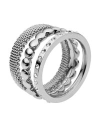 Skagen | Metallic Classic Austrian Crystal Silver Steel Ring | Lyst