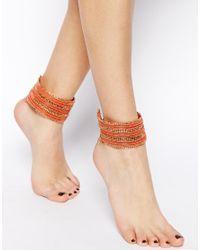 ASOS - Orange Seedbead Anklet Multipack - Lyst