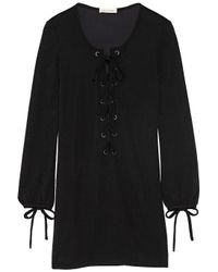 Étoile Isabel Marant - Black Wisdom Lace-Up Jersey Mini Dress - Lyst