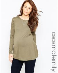 ASOS | Natural The Swing Top With Long Sleeves | Lyst
