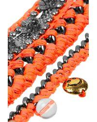 Venessa Arizaga - Orange Las Flores Gunmetalplated Charm Bracelet - Lyst