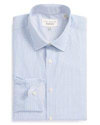 Ted Baker - Blue 'harker' Trim Fit Dobby Stripe Dress Shirt for Men - Lyst