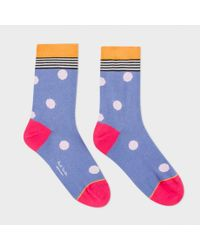Paul Smith | Women's Sky Blue Polka Stripe Socks | Lyst
