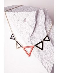 Missguided - Orange Triangle Detail Collar Necklace Neon Pink - Lyst
