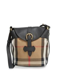 Burberry - Black 'Small Sycamore' Check & Leather Crossbody Bag - Lyst