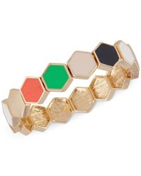 French Connection | Metallic Gold-tone Hexagon Tile Multicolor Stretch Bracelet | Lyst