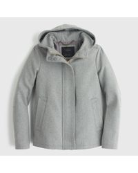 J.Crew | Gray Wool Melton Hooded Bib Jacket | Lyst