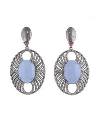 Bavna | Blue Sterling Silver Earrings W Chalcedony, Ruby & Pave Diamonds Silver 12.63 Gm, Chl 21.42 Ct, Rub 0.37 Ct, Pave 2.84 Ct | Lyst