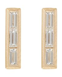 Monique Péan | Metallic Baguette Diamond & Gold Bar Studs | Lyst