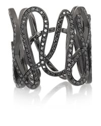Repossi - White Noise 18-karat Black Gold-washed Diamond Ring - Lyst