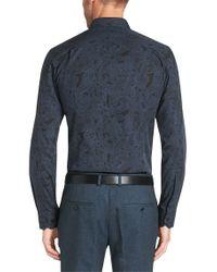 HUGO | Blue 'elisha' | Slim Fit, Point Collar Cotton Button Down Shirt for Men | Lyst