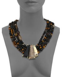 Alexis Bittar | Metallic Lakana Lucite, Tiger'S Eye, Black Onyx, Smokey Quartz & Lava Rock Four-Strand Necklace | Lyst