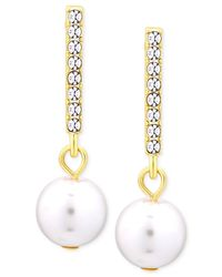 T Tahari | Metallic Gold-tone Crystal Bar Imitation Pearl Drop Earrings | Lyst