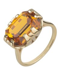 Cabinet - Metallic 9ct Gold Plated Swarovski Crystal Beetle Rectangle Ring - Lyst