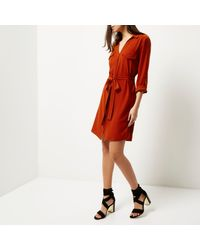River Island - Orange Rust Brown Shirt Dress - Lyst