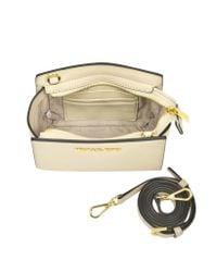 Michael Kors - Natural Ecru Saffiano Leather Selma Mini Messenger Bag - Lyst