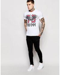 DIESEL - T-shirt Cl-t-melee Crewneck Winged 78 Logo Print In White for Men - Lyst