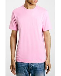 TOPMAN - Pink Slim Fit Crewneck T-Shirt for Men - Lyst
