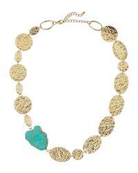 Panacea | Blue Hammered Disc Nugget Wire Necklace | Lyst
