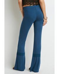 Forever 21 - Blue Crochet-trimmed Wide-leg Pants - Lyst