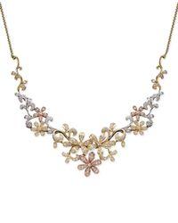 Macy's | Metallic Diamond Flower Necklace In Tri-Tone 14K Gold (3/4 Ct. T.W.) | Lyst