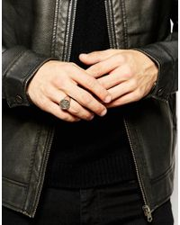 ASOS | Metallic Sterling Silver Ring With Crest for Men | Lyst