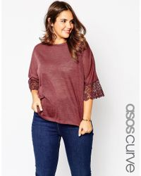 Asos Curve | Purple Tunic With Lace Sleeve In Linen Look Fabric | Lyst