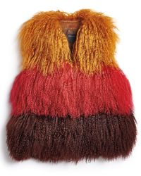 Anna Sui | Multicolor Color-Blocked Fur Vest | Lyst