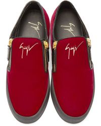 Giuseppe Zanotti - Ssense Exclusive Red & Black Velour Slip-on London Sneakers - Lyst