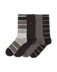 Tommy Hilfiger | Black 4 Pack Of Stripe And Solid Socks for Men | Lyst