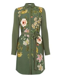 Oasis | Green Floral Print Shirt Dress | Lyst