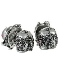 Betsey Johnson - Metallic Bj's Menagerie Silver Bunny Front Back Stud Earrings - Lyst