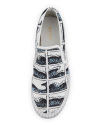 KENZO - White Mens Hevyn Wave-Print Slip-On Sneaker for Men - Lyst