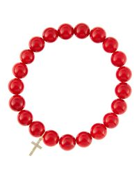 Sydney Evan | Red Coral Beaded Bracelet With 14K Gold Hamsa Charm (Made To Order) | Lyst