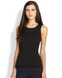 Theory | Black Ballise Stretch Knit Peplum Top | Lyst