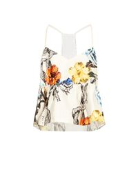 Tibi - Orange Tattoo-print Silk-gazar Top - Lyst