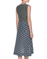 Marni - Blue Floral-print Crepe De Chine Midi Dress - Lyst