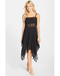 Free People - Black Dobby Dot Lace Trim Trapeze Slip - Lyst