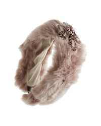 Cara | Brown Faux Fur Head Wrap | Lyst