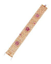 Roberto Coin | Barocco Diamond & Pink Sapphire Bracelet | Lyst