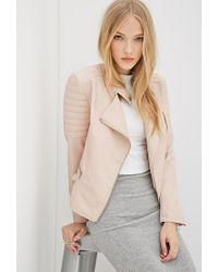 Forever 21 | Natural Faux Leather Biker Jacket | Lyst