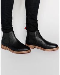 ASOS | Chelsea Boots In Black Scotchgrain Leather for Men | Lyst