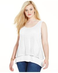 Style & Co. | White Plus Size Layered Eyelet Tank Top | Lyst