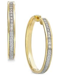 Macy's - Metallic Diamond Medium Glitter Hoop Earrings (1/4 Ct. T.w.) In 14k Gold-plated Sterling Silver - Lyst