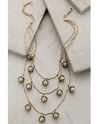 Anthropologie | Metallic Pearled Rosebud Necklace | Lyst