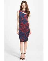 DKNY - Black Cutout Detail Print Jersey Ruched Sheath Dress - Lyst