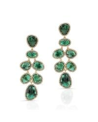 Anne Sisteron - Green 18kt Yellow Gold Emerald Diamond Couture Earrings - Lyst