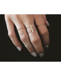 Vrai & Oro | White Double Stacked Diamond Line Ring | Lyst